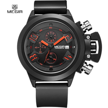 2016 new fashion military styligh MEGIR brand design army calendar men male clock sport rubber business luxury wrist watch 2002