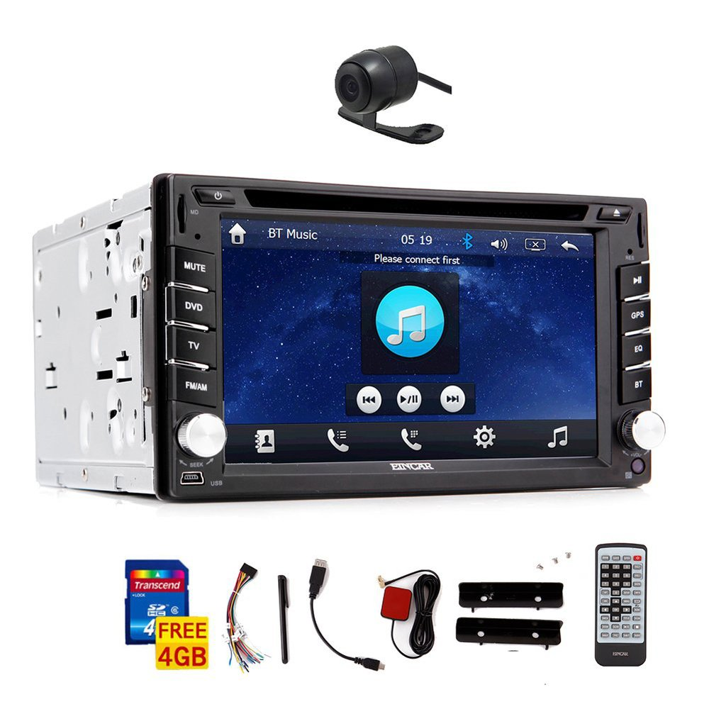 Free Rear camera Car Stereo GPS Radio DVD CD Player with navi SD MAP Bluetooth Mic USB Mp3 MP4 IPOD Aux LCD Remote Control(China (Mainland))