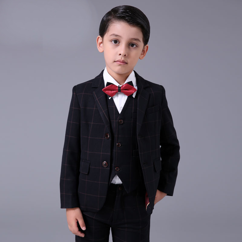 Boys Wedding Suits Baby Kids Blazers Skirts Pants Children Boys Dress Clothes Plaid Formal Prom Communion Party Suits Cotton(China (Mainland))