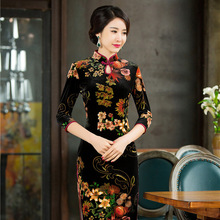 Buy New Arrival Chinese Traditional Women's Velour Hand-Made Button Long Cheong-sam Dress S M L XL XXL QXF17 for $47.00 in AliExpress store