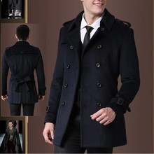 2015 cashmere overcoat Men's double breasted outerwear medium-long overcoat coat outerwear(China (Mainland))