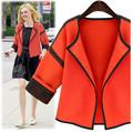 VVTS 2016 Women Autumn High quality Orange Casual Solid Suit Jacket Loose Long Sleeve Short Blazer
