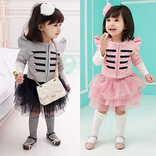 baby girl clothing sets 2015 new girls striped top + tutu skirt children 2pcs set kids autumn formal suits clothes(China (Mainland))
