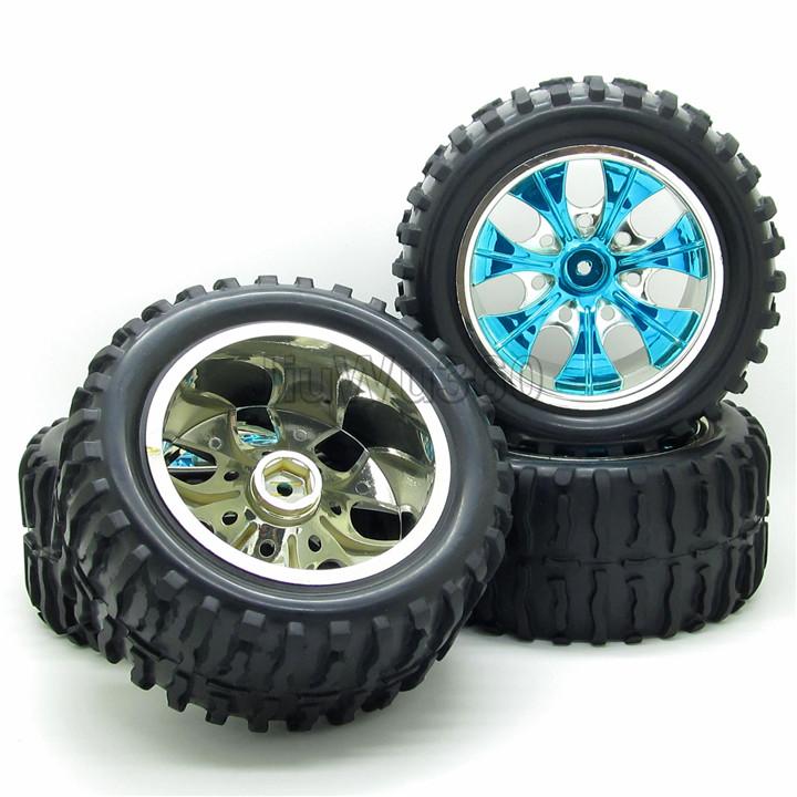 4pcs/set Blue RC 1/10 scale RC Truck car 12mm Hex Plastic Hub Wheel Rim and Tires Tyres Set(China (Mainland))