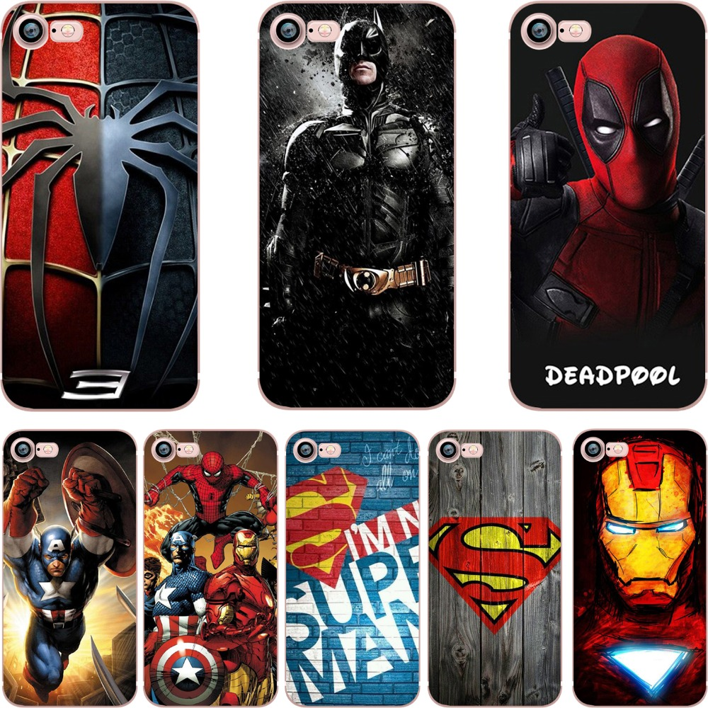 phone cases DC Batman Superman Deadpool Marvel Iron Man TPU Clear soft silicone cover Case for Apple iphone 6 6plus 7 7plus 5S(China (Mainland))