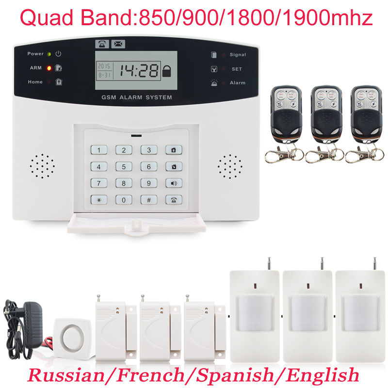 Гаджет  PGST Spanish Voice Prompt Wireless door sensor Security Infrared detector Home GSM Alarm systems LCD Display Wired Siren Kit None Безопасность и защита