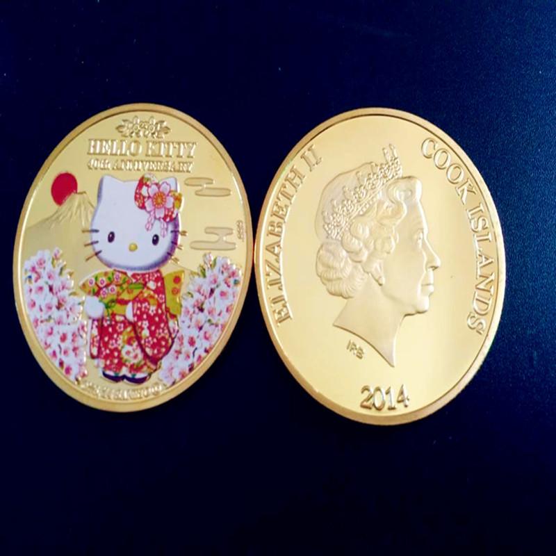 Sample order Gold Plated Hello kitty Coin.40th anniversary SAKURA islands Japan United States Canada souvenir Coin(China (Mainland))