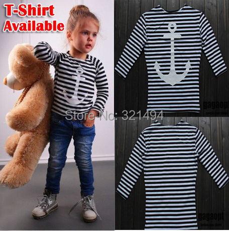 Bear Leader Arrive Children Striped T Shirt, Quality Brand Kid's Anchor Printed T Shirt, Half Sleeve Girl's Tee(China (Mainland))