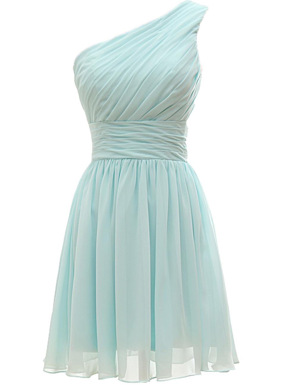 Classic Bridesmaid Dresses One Shoulder Short Wedding Party Dress Cheap Bridesmaid Dress Chiffon Online Discount(China (Mainland))