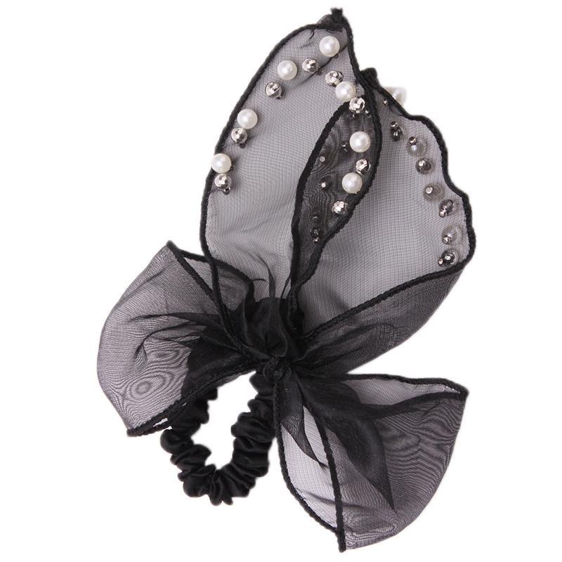 1Pc black korean style women headdress head bow beads hair accessories ring rope GI679639 - Unique Digital store
