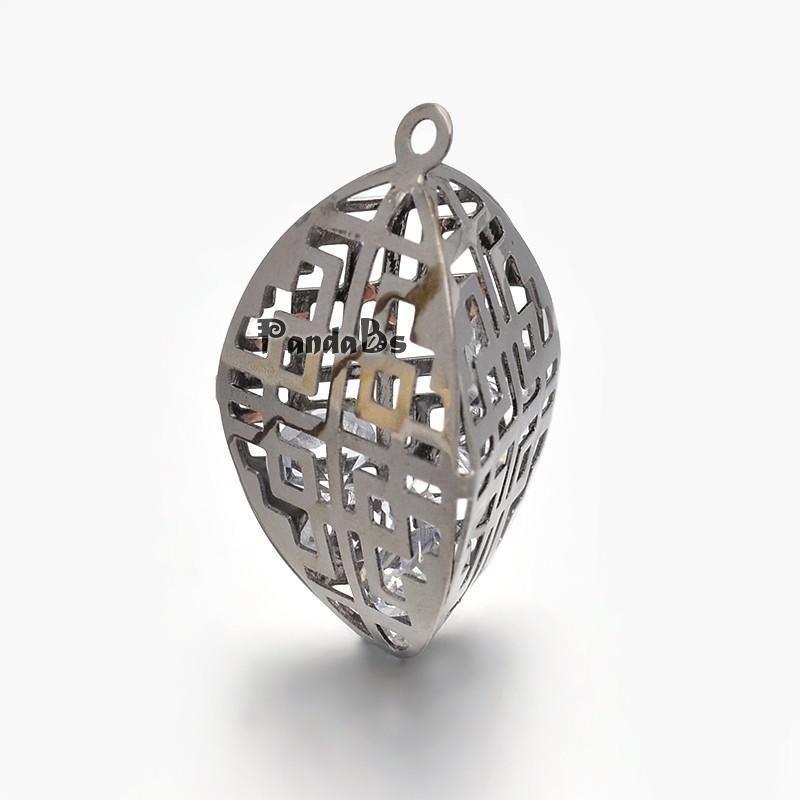Rack Plating Leaf Filigree Iron Pendants, with Glass Rhinestone, Gunmetal, 36x21x19mm, Hole: 2mm(China (Mainland))