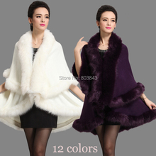 Autunm Winter New Women Knitted Wool Fox Fur Shawl Double Poncho Cashmere Fur Pashmina Cappa Noble Party Dress(China (Mainland))