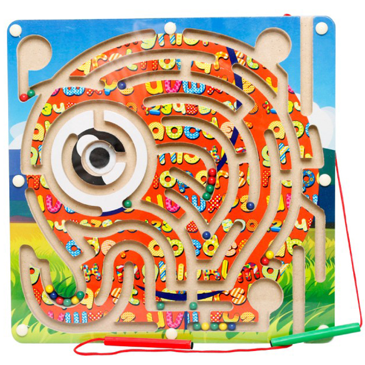 New Magnetic brush Ball cartoon animals Maze Wooden kids toys early childhood educational intelligence game Children's Day gift(China (Mainland))