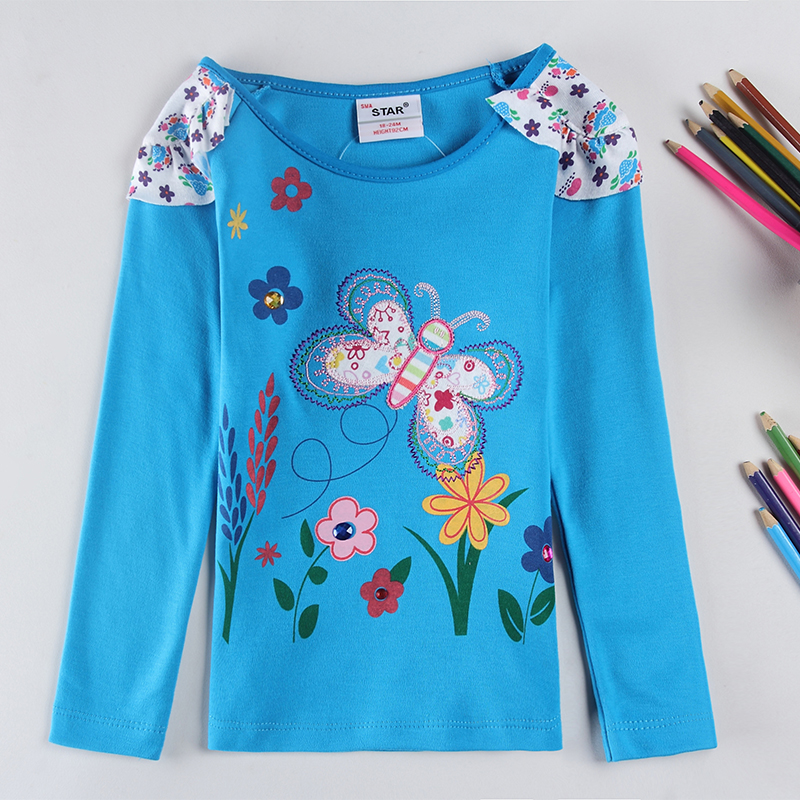 2016 New Children T shirts for Girls Clothes Flower butterfly Infantis Brand Kids T-shirts Baby Girl T shirt(China (Mainland))