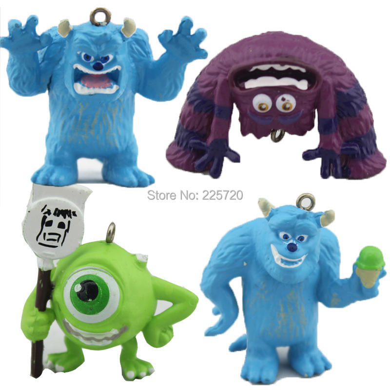 Cute 4pcs/Set Monsters Inc. Monsters University PVC Figure Toys Can Make pendant FREE SHIPPING(China (Mainland))