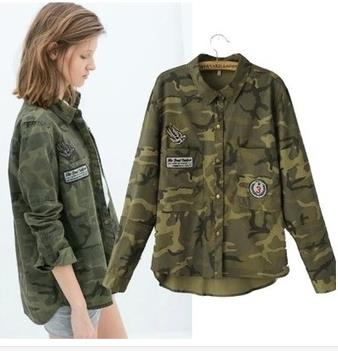 2015 European Grand Prix women's army green lapel double pocket embroidered patch badge camouflage long-sleeved jacket(China (Mainland))