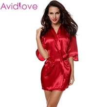 Avidlove Brand Women Sleapwear European And American Style Hot Sale Sexy Silk Satin Sleepwear(China (Mainland))