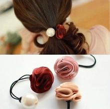 Free shipping Korea hair ring for women girl fashion flower rose Pearl hair tie head ornaments hair band hair accessory(China (Mainland))