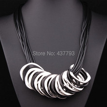 Wholesale New Jewelry Multilayer  Leather  Rope Leaf Circle Pendant High Quality Short Necklace N663(China (Mainland))