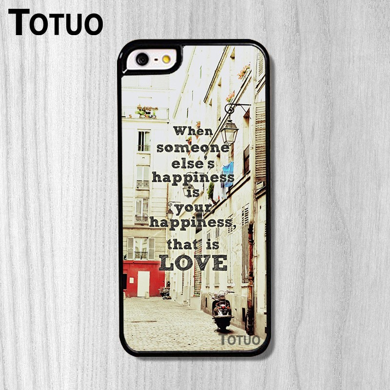 Hot Low Happiness Is Love Background Pattern PC Fashion Mobile Parts Protection Case for iphone 5S And 4S 5C 6 6Plus 6S 6SPlus