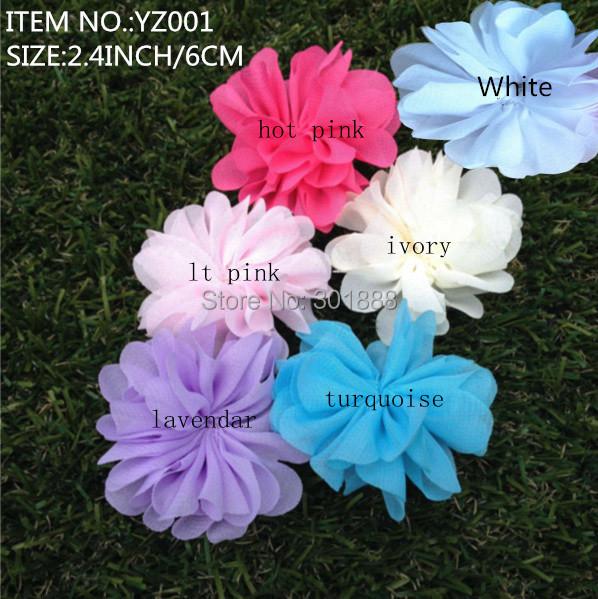 Free Shipping,Hair Accessories 60pcs/LOT, 6colors Baby Girl Soft Chiffon Fabric Daisy Flower For Flat back DIY Headwear YZ001(China (Mainland))