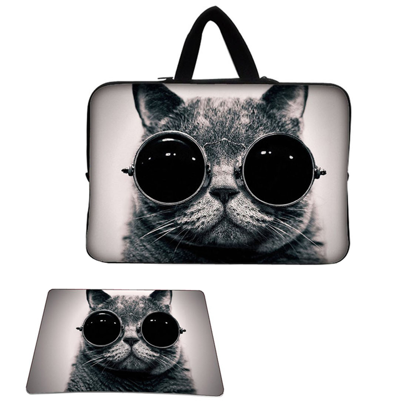 Cute Cat 15 15.6 17 17.4 Inch Laptop Sleeve Bag Case Carry Pouch W/ Hide Handle + Anti-slip Mouse Pad Mat Mousepad(China (Mainland))