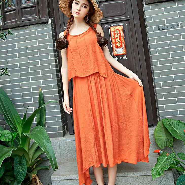 summer new women loose big yards fake piece Cotton linen fashion Chinese style loose casual Long Dress(China (Mainland))
