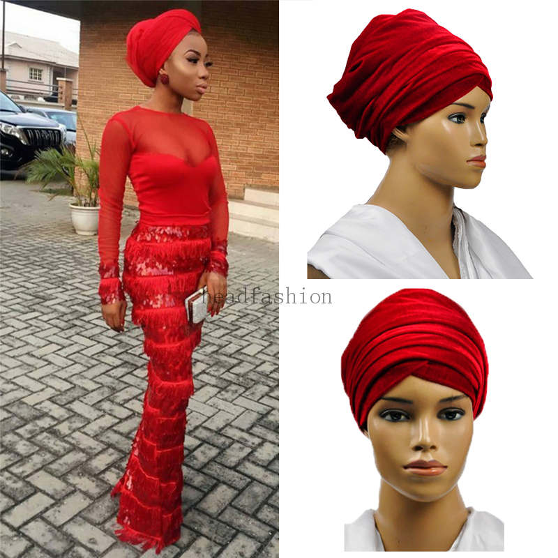2017For party or wedding African turban New design Fashion solid Velvet Lace soft African Headtie headwrap, women headtie.HQT02(China (Mainland))