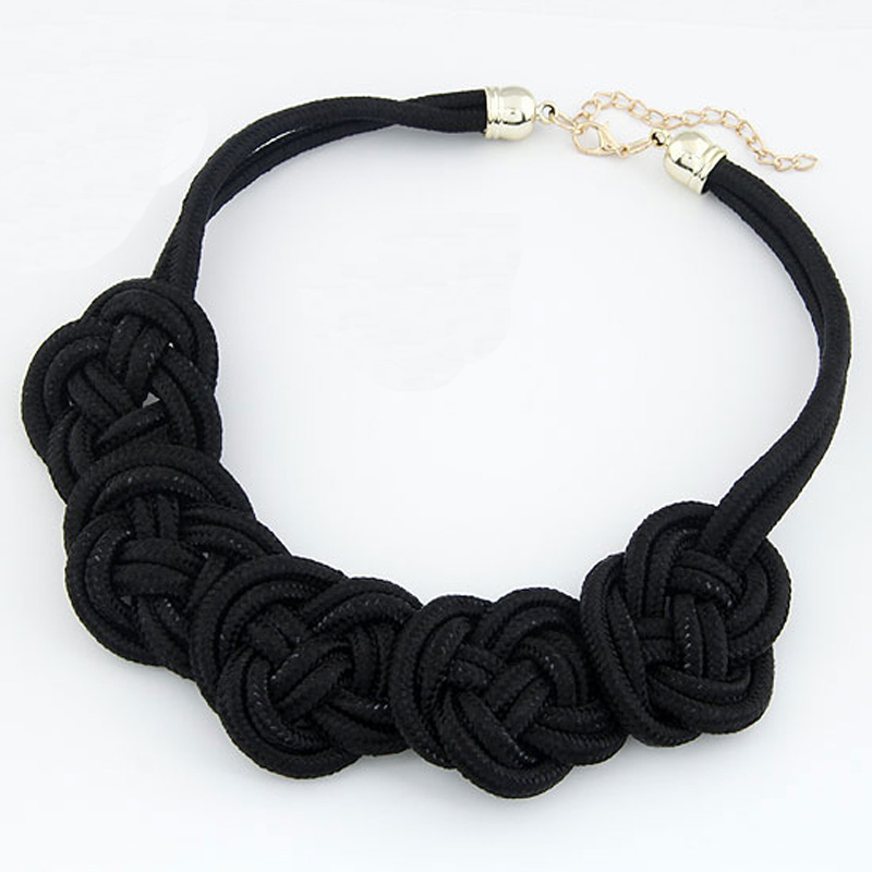 2016 Hot Chunky Fluorescent Neon Color Handmade Braided Rope Chinese Knot Flowers Choker Collar Necklace Women(China (Mainland))