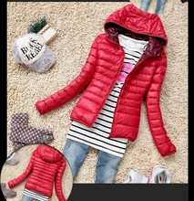 Fall and winter clothes female long-sleeved hooded thin section padded cotton jacket short