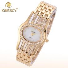 2015 Kingsky mujeres diamante Oval de la aleación de oro informal para mujer accesorios de diamantes pulsera de lujo de san valentín regalo de cuarzo