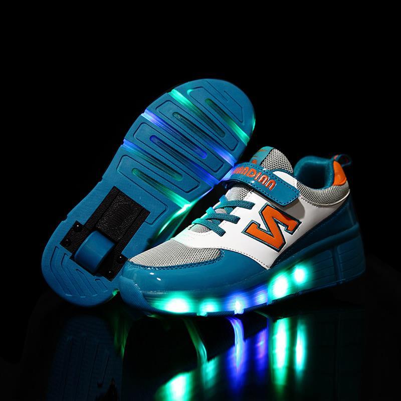 Гаджет  2015 New LED girls&boy shoes sneakers with wheels tenis zapatos de deporte deportivas zapatillas con ruedas heelys roller shoes None Детские товары