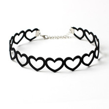 korea flannel Harajuku Black Velvet Hollow out Sweet Heart Choker Necklace Women Collar Jewelry FreeShipping