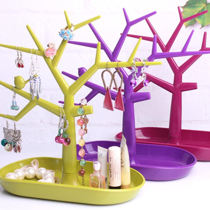 4 Colors Tree-shape Multifunctional Jewelry Holder Accessories Display Rack Earring Rack Ring Frame Bracelet Storage Tree Shelf(China (Mainland))