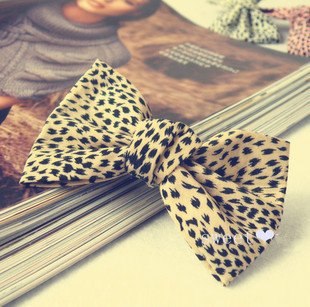 Popular trendy hair, Free shipping, leopard grain bowknot hairpin promotional decoration(China (Mainland))