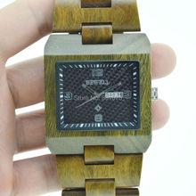 Envío gratis! nuevo diseño del cuarzo de japón miyota 2115 movimiento Bewell marcas de madera 6 colores hombres del reloj de madera del reloj resistente al agua