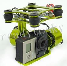 CNC FPV Quadcopter BGC 2 Axis Metal Brushless Gimbal w/ Controller for GoPro 3 Camera DJI Phantom 1 2 Walkera X350 Pro(China (Mainland))