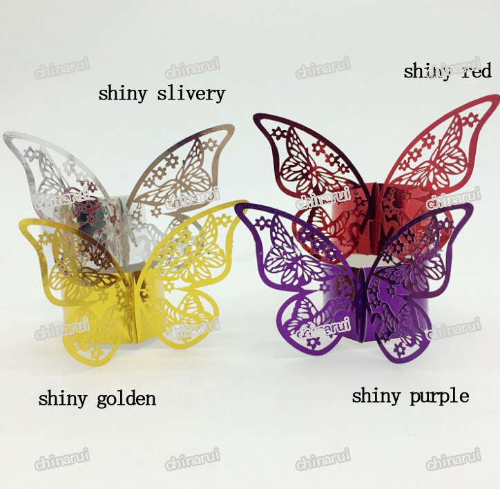 shiny butterfly Paper Napkin Rings Wrap clip towel table Decoration For Wedding Party Event Decors restaurant hotel(China (Mainland))