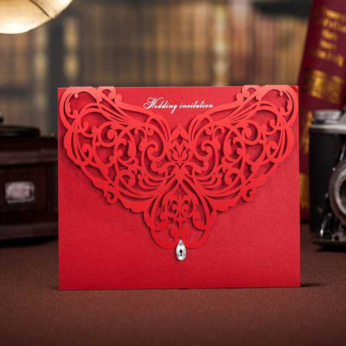 100Pcs 2015 NEW Beautiful India Wedding Cards Invitations Pearl Accessories Cheap Red Wedding Invitation DHL Free Shipping(China (Mainland))