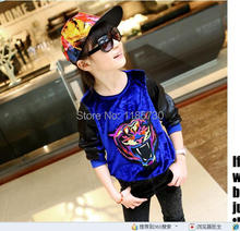 New 2014 Autumn Children's Clothing Baby Girl Boy Brand Style  Printed Tiger Embroidered Velvet Kids Long-Sleeved  Hoodies@9860(China (Mainland))