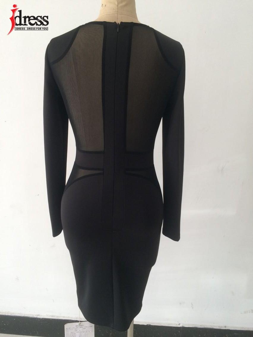 IDress 2016 Autumn Winter Women Fashion Black Mesh Patchwork Sexy Bodycon Dresses Long Sleeve Wholesale Drop Ship Vestidos (4)