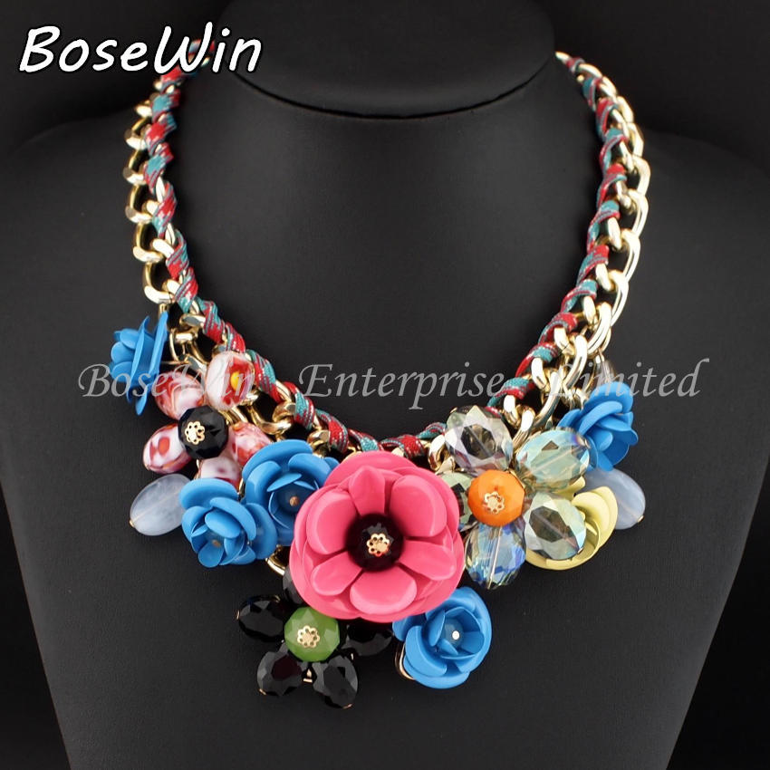 Top Sell Fashion Accessories Women Gold Chain Spray Paint Metal Flower Rhinestone Crystal Bib Necklaces Statement Jewelry CE1744(China (Mainland))