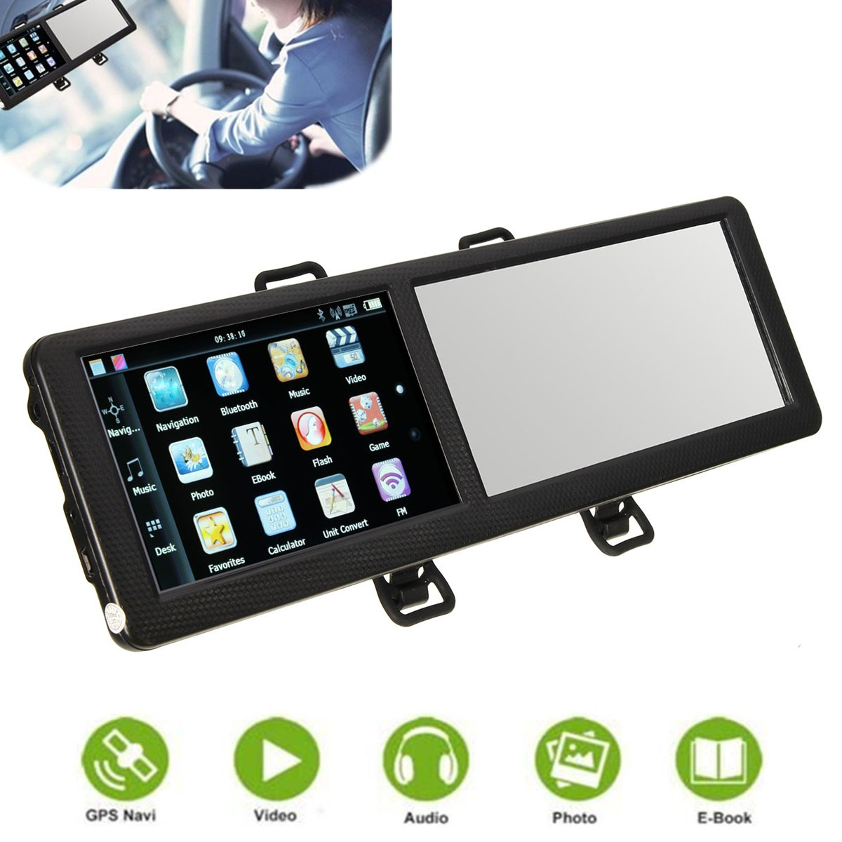 Brand New 8GB 5 inch TFT Touch Screen Bluetooth Car GPS Navigation SAT NAV FM Rearview Mirror Europe/North America Map(China (Mainland))