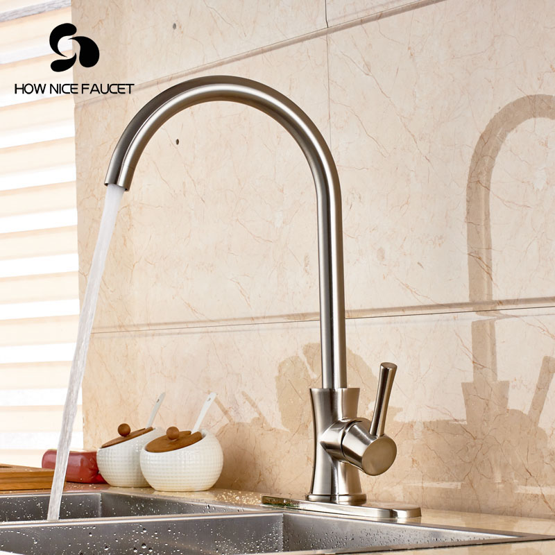 Фотография Widespread Deck Mount Brushed Nikcle Kitchen Sink Faucet Mixer Tap Swivel Spout One Hole
