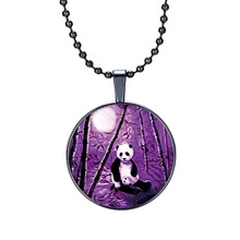 Steampunk round glass necklaces black gun plated panda glass cabochon necklaces fashion jewelry