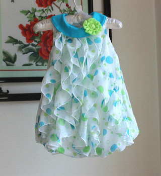 2015 Baby Girls Dresses Chiffon Infant Toddler Girls Birthday Party Dresses Polka Dots Baby Romper Clothing 6-24Monther jumpsuit