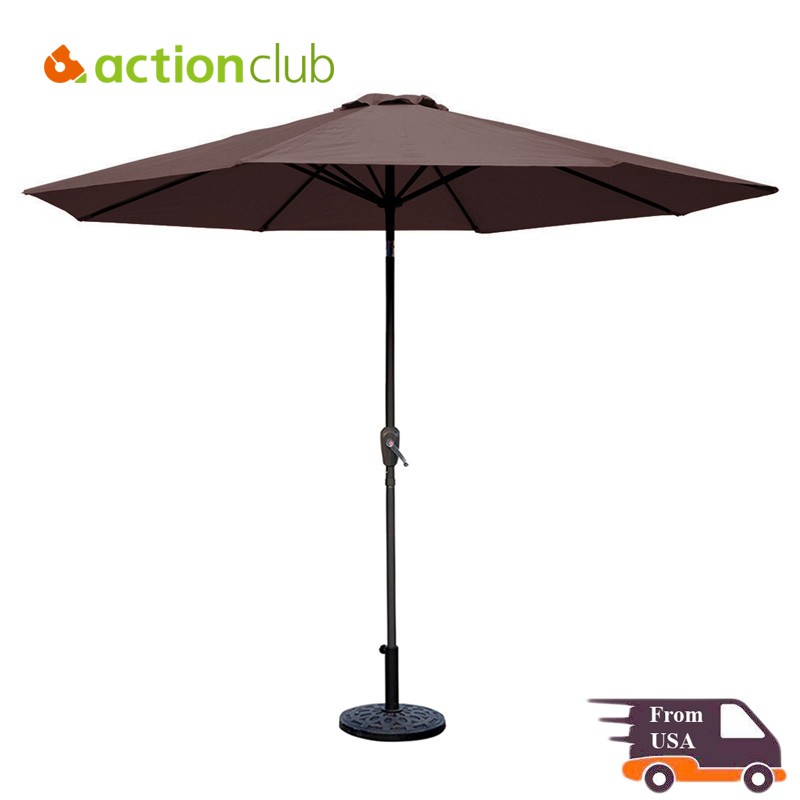 9 Ft Aluminum Patio Umbrella Tilt & Crank 8 Ribs 100% Polyester Outdoor Garden (Base not Included) Outdoor Umbrellas XUM002F9(China (Mainland))