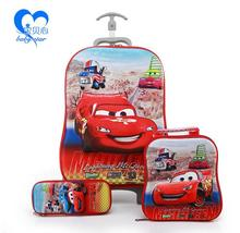 2016 Cartoon cars fashion luggage kids luggage with wheels 6D travel suitcase set (suitcase+Lunch box+ pencil box) kids gift