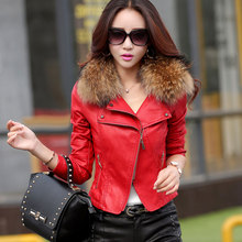 Women Faux Leather Jacket PU Leather Coat with Real Fur Collar Plus size 4XL HB-22B(China (Mainland))