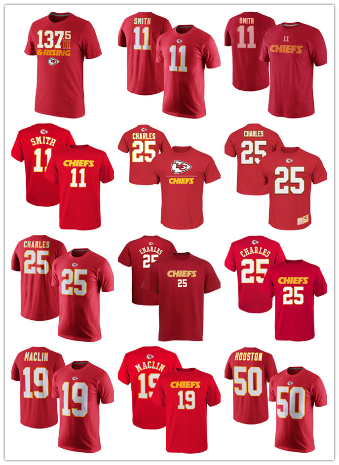 Free Shipping Dri-fit T-shirt #11 Alex Smith #25 Jamaal Charles #19 Jeremy Maclin #50 Justin Houston #91 Tamba Hali #87 Kelce(China (Mainland))